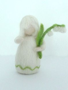 Spring Flower Child - Lily of the Valley - Waldorf Doll Handmade Needle Felted Wool, 35 usd, etsy