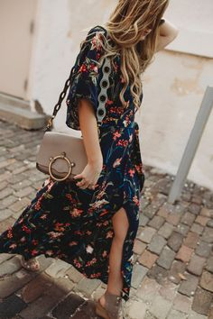 Spring floral maxi outfit styled with lace up wedges and ring crossbody bag #floralmaxi #springoutfit #springmaxi #laceupwedges