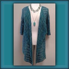 """Turquoise & Lime Knit Cardigan Classic open cardigan in a pretty blend of turquoise, aqua and lime knit.  Hi-Lo style with cascade collar, 3/4"""" sleeves. Measurements: Chest (armpit to armpit) 23"""" 