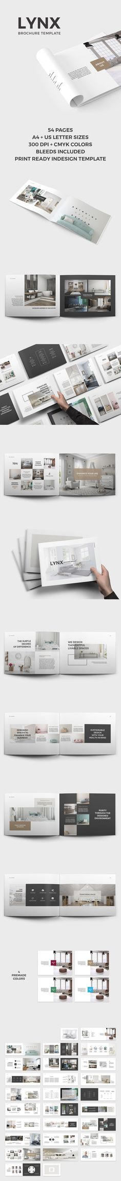 Lynx Brochure is an elegant, simple and impressive template for InDesign. It is prepared with a strong interior design theme but thanks to its multi-functionality and easily editable structure you can use Lynx Brochure Template for any field you like. Created by SlideStation on @CreativeMarket #print #template @brochure @horizontal #landscape @interior