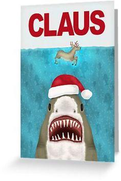'Funny Christmas Santa Claus Shark Reindeer Humor' Greeting Card by emkayhess Funny Christmas Cards, Christmas Hat, Christmas Humor, Christmas Stuff, Christmas Holidays, Xmas, Tropical Christmas, Whimsical Christmas, Coastal Christmas