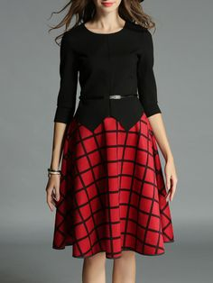 Shop Midi Skirts - 3/4 Sleeve Checkered/Plaid Girly Crew Neck Midi Skirt online. Discover unique designers fashion at StyleWe.com.