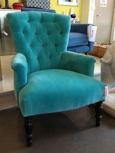 Velvet Chair With Armrest Turquoise Chair, Turquoise Furniture, Living Room Turquoise, Teal Accent Walls, Teal Accent Chair, Accent Chairs, Tufted Chair, Velvet Armchair, Teal Armchair