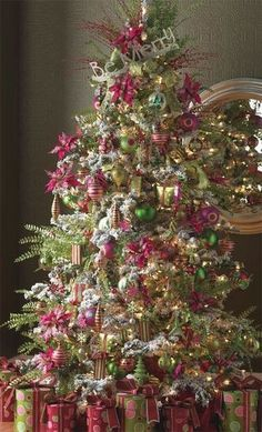 Pink Christmas Tree Decorating Idea Ornaments Accented With Chartruse