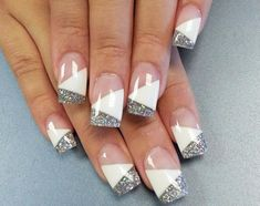#frenchnails #diagonalfrench with #glitter