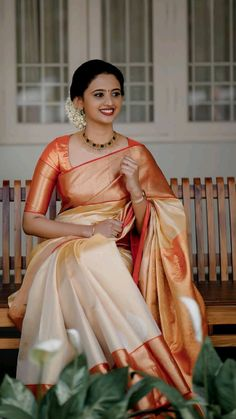 Bridal Sarees South Indian, Indian Bridal Outfits, Indian Bridal Fashion, Indian Fashion Dresses, Wedding Saree Blouse Designs, Half Saree Designs, Blouse Designs Silk, Saree Wedding, Mehndi Designs