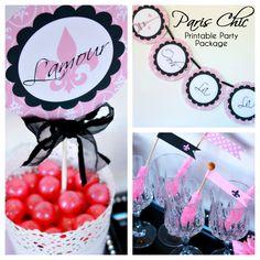 Paris Bridal Shower Decorations - Paris Chic Printable Party Package.
