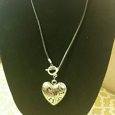 Silver, and black large heart necklace Large silver and black heart with black necklace Jewelry Necklaces