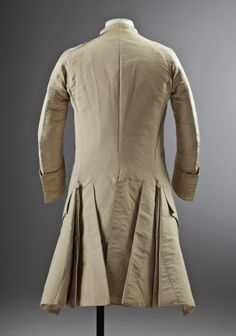 Back view, 3-piece wedding suit, 18th century. Cream silk. (costume collection at Ham House, Surrey)