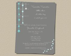 Twinkle Twinkle Little Star Baby Shower Invitations, Set of 10 invites for Boys with Envelopes, FREE shipping