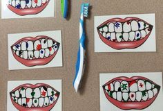 Print out pictures of teeth and have them laminated. Then, use dry erase markers to draw sugar bugs and have the kids use a tooth brush to get them off. This activity was a huge hit with all the kids! Good idea for dental health month! Health Activities, Preschool Activities, Space Activities, People Who Help Us, Health Unit, Kids Health, Dental Health Month, Tot School, Dental Hygiene