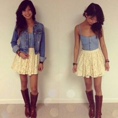 Love the tank and skirt, add a flannel shirt for warmth