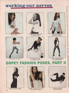 "Sassy, July 1994 - ""Working Our Nerves: Dopey Fashion Poses, Part II"" Fashion Poses, 90s Fashion, Sassy Magazine, Magazine Spreads, Star Girl, I Cool, Photoshoot, Portrait, Magazines"