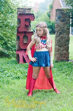 FOR TAMMYIS27 ONLY, Featured in the October issue of Parenting Magazine, Captain America Inspired Girl's Costume, Super Hero Costume