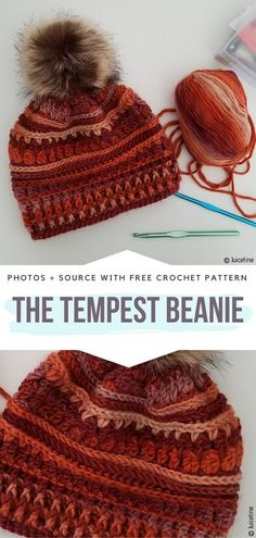 Fall Colors Beanies Free Crochet Patterns Fall Colors Beanies Free Crochet Patterns,Crochet Hats and Beanies The Tempest Beanie Free Crochet Pattern The Tempest Beanie is the perfect autumn beanie for cold weather. Crochet Adult Hat, Love Crochet, Knit Crochet, Beanie Pattern Free, Crochet Beanie Pattern, Knitting Patterns, Crochet Patterns, Hat Patterns, Crochet Gratis