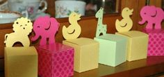 Cajas con figuras de animales para decorar baby shower