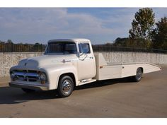 Ford : Other car hauler 1956 Ford F6 Car Hauler, flatbed wedge,ramp truck, later ambulance chassis - http://www.legendaryfind.com/carsforsale/ford-other-car-hauler-1956-ford-f6-car-hauler-flatbed-wedgeramp-truck-later-ambulance-chassis/