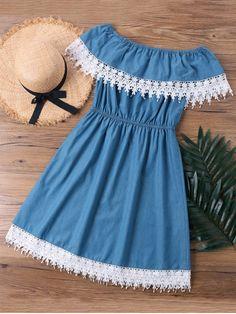 Shop for Lace Trim Overlay Off The Shoulder Dress DENIM BLUE: Casual Dresses M a… - blackstars. Cute Casual Dresses, Stylish Dresses, Simple Dresses, Dresses With Sleeves, Fall Dresses, Dresses Dresses, Beach Dresses, Dress Casual, Girls Fashion Clothes