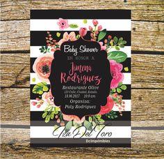 Baby Shower, Kate Spade, Floral, Rosa, Rayas. de DCImprimibles en Etsy