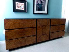 Milo Baughman for Lane Dresser Credenza Olive Burl Wood Mid Century Modern Furniture 1970s Home Decor