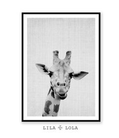 Giraffe Print Nursery Animal Wall Art Kids Printable por LILAxLOLA
