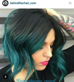 black and teal ombre hair