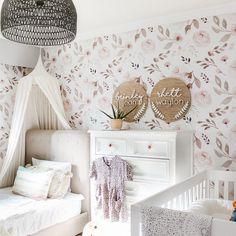 Hand Painted Wallpaper, Rose Wallpaper, Girls Bedroom Wallpaper, Baby Girl Nursery Wallpaper, Nursery Floral Wallpaper, Little Girl Wallpaper, Nursery Decals Girl, Playroom Wallpaper, Baby Room Wall Decals