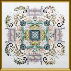 Chatelaine Autumn Watergarden Mandala - Cross Stitch Pattern. Model stitched on 32 Ct. white, cream, or ivory linen with DMC floss, Gloriana Stranded Silk, Thre