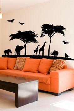 Wall Decals Grand Safari elephant, giraffe, birds, trees, grass, africa,-WALLTAT.com Art Without Boundaries
