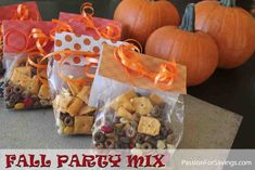 Here is a fun Fall Party Mix Recipe. Perfect to eat around the house or wrap up for a school or holiday party. #fallpartymix #fallrecipes