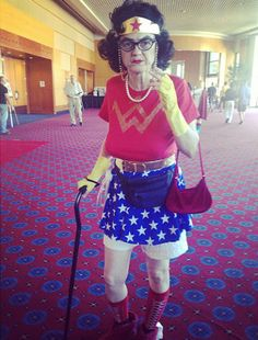 Post with 40410 views. My favorite cosplay from Rose City Comic Con: Retired Wonder Woman. Humour Geek, Wonder Woman Cosplay, Dangerous Minds, Rose City, Forever Young, Girl Power, Woman Power, Old Women, Playing Dress Up