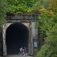 This old railroad tunnel is so cool to ride your bikes through1  Two miles long and it gets pitch black in there, you have to wear head lights to get through it.Iron Horse bike trail, Snoqualmie Pass, WA