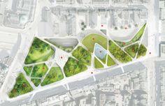Colorare piante con Photoshop: l'esempio dell' Aberdeen City Garden - pianta della proposta di Diller Scofidio + Renfro