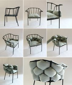 'serpentine' chair features a removable cushion that is woven into its metal frame backing. 'serpentine' chair features a removable cushion that is woven into its metal frame backing. Diy Furniture Chair, Gold Furniture, Living Room Furniture, Living Room Decor, Furniture Design, Concrete Furniture, Quality Furniture, Glazing Furniture, City Furniture