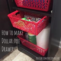 Dollar Tree bin with a lip or ledge Aluminum Trim Channel (comes in 4 ft lengths), cut to size 6 inch screws Power Drill (with a drill bit slightly wider than screw, and a bit about the circumference) - Diy Home Decor Dollar Store Dollar Tree Baskets, Dollar Tree Finds, Dollar Tree Decor, Dollar Tree Crafts, Dollar Tree Store, Dollar Tree Organization, Small Space Organization, Diy Organization, Dollar Tree Storage Bins