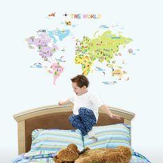 Muur en raamsticker wereldkaart