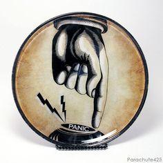 Panic Button decoupage glass plate from Parachute425
