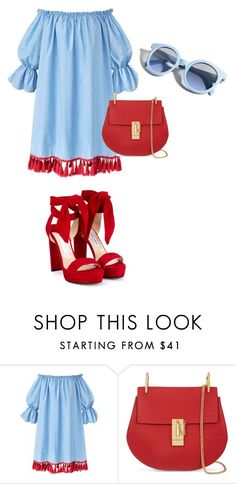 """""""summer vibes"""" by lana-653 ❤ liked on Polyvore featuring Chloé, Jimmy Choo, Pinko, summer_dress and red_bag"""