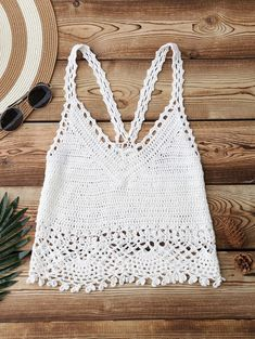 Crochet Crop Cover Up Top - WHITE ONE SIZE Crochet Halter Tops, Pull Crochet, Gilet Crochet, Crochet Summer Tops, Crochet Bikini Top, Crochet Blouse, Crochet For Kids, Knit Crochet, Crochet Tank