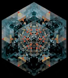 Found this on FFFFOUND! Hexagon made up of little coloured triangles. The small size doesn't do it justice, still striking though. Geometry Art, Sacred Geometry, Triangles, Geometric Nature, Geometric Patterns, Kinetic Art, Op Art, Fractal Art, Design Art