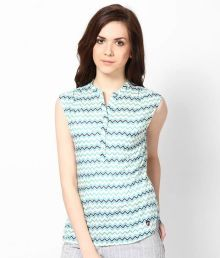 American Swan Turquoise Printed Cotton Top