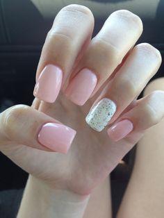 Light pink, Acrylic Nails, Glitter & white