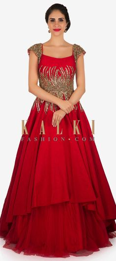 This red gown which promises you that princess vibes is featured in net and raw silk fabric. The entire bodice is embellished in cut dana and moti. Red Wedding Gowns, Pink Gowns, Indowestern Gowns, Indian Gowns, Indian Wear, Gown Pattern, Gowns Online, Indian Designer Wear, Bellisima
