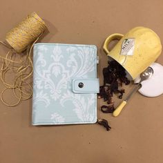 Pastel green planner with fabric, pen holder and two ring mechanism to refill Notebook or planner,Agenda with 300 page included Creative Diary, Perfect Planner, Fabric Pen, Paper Organization, Pen Holders, Paper Goods, Calendar, Notebook, Pastel