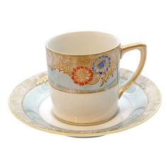 Vintage Noritake Blue & Gilt Coffee Cup and Saucer Coffee Cups And Saucers, Cup And Saucer, Noritake, Teacups, Porcelain, China, Ceramics, Dishes, Tableware