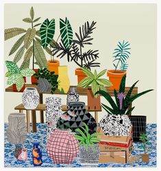 painting by Jonas Wood, featuring pots by Shio Kusaka
