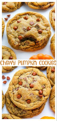 Chewy Cinnamon Chip Pumpkin Cookies - Baker by Nature Pumpkin Recipes, Fall Recipes, Cookie Recipes, Recipes Dinner, Fall Desserts, Just Desserts, Italian Desserts, Thanksgiving Desserts, Chip Cookies