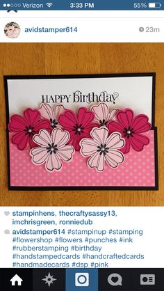 stampin up flower punch birthday card (and Flower Shop stamp set? Birthday Cards For Women, Handmade Birthday Cards, Happy Birthday Cards, Female Birthday Cards, Greeting Cards Birthday, Flower Birthday Cards, Making Greeting Cards, Greeting Cards Handmade, Tarjetas Stampin Up