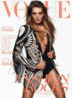 Love this cover of Daria Werbowy in Balmain for the June 2012 issue of Vogue Australia. Photographed by by Daniel Jackson.