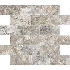 Anatolia Tile Silver Crescent Subway Mosaic Travertine